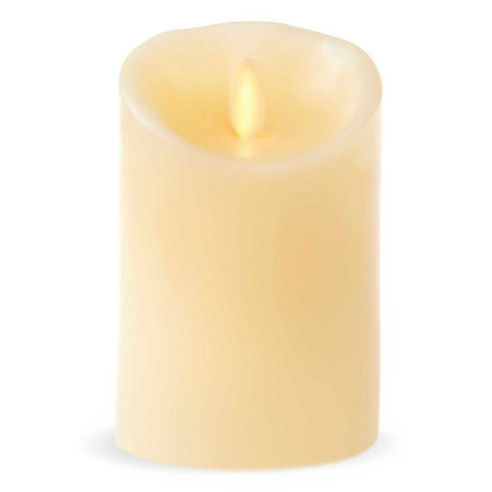 Alternate image 1 for Luminara© Real-Flame Effect 4.5-Inch Pillar Candle in Ivory