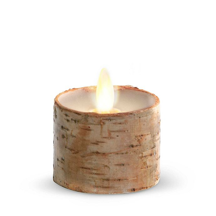 Alternate image 1 for Luminara® Birch Real-Flame Effect Tealight Candle in Ivory (Set of 2)