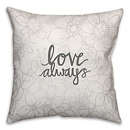 Love Always Floral Pattern Square Throw Pillow