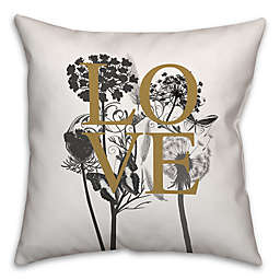 Love Nature Square Throw Pillow in Ivory/Black
