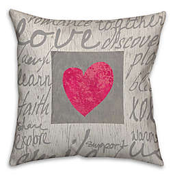 Love Words Throw Pillow in Grey