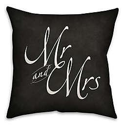 """Mr. & Mrs."" Throw Pillow in Black"