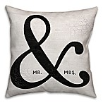 Mr. & Mrs.  Ampersand 18-Inch Square Throw Pillow in Black