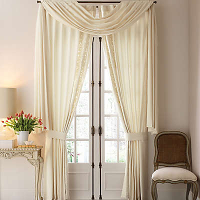 Croscill Couture® Hepburn 84-Inch Back Tab Lined Window Curtain Panel Pair in Ivory