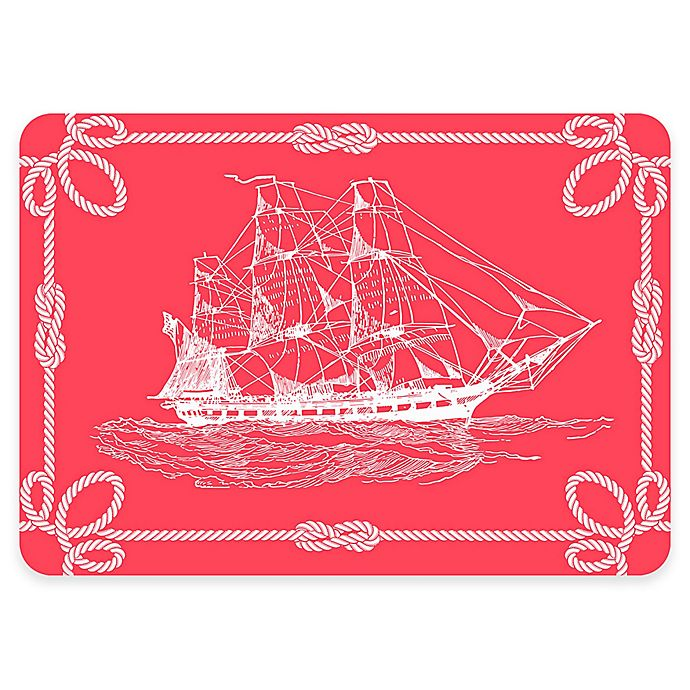 Alternate image 1 for The Softer Side by Weather Guard™ 18-Inch x 27-Inch Nautical Ship Kitchen Mat in Coral/White