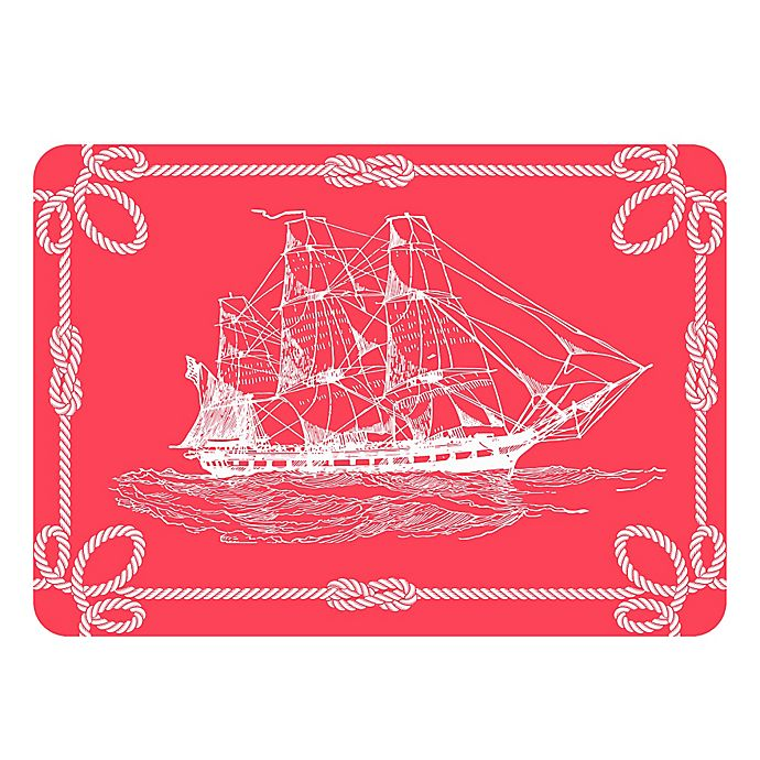 Alternate image 1 for The Softer Side by Weather Guard™ 23-Inch x 36-Inch Nautical Ship Kitchen Mat in Coral/White