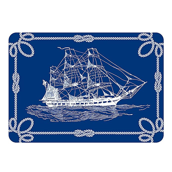 Alternate image 1 for The Softer Side by Weather Guard™ 23-Inch x 36-Inch Nautical Ship Kitchen Mat in Navy/White