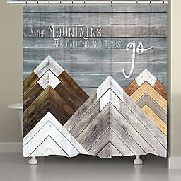 Laural Home Mountains Are Calling Standard Shower Curtain in Grey