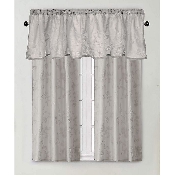 Alternate image 1 for Wamsutta® Vintage Floral Embroidery Window Curtain Panel and Valance