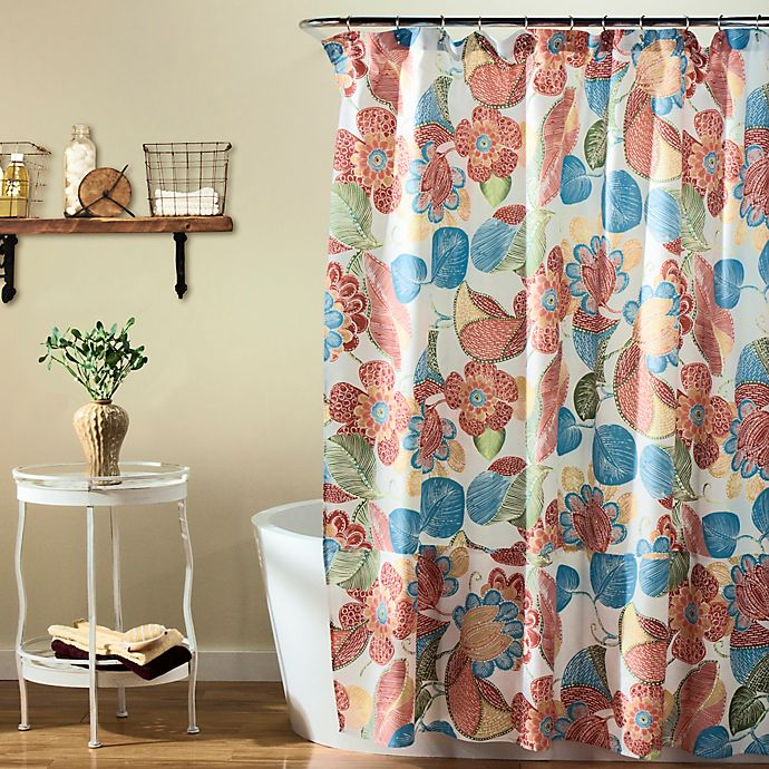 Layla Floral Shower Curtain In Orange Blue Bed Bath Amp Beyond