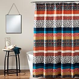 Boho Stripe Shower Curtain in Turquoise/Orange
