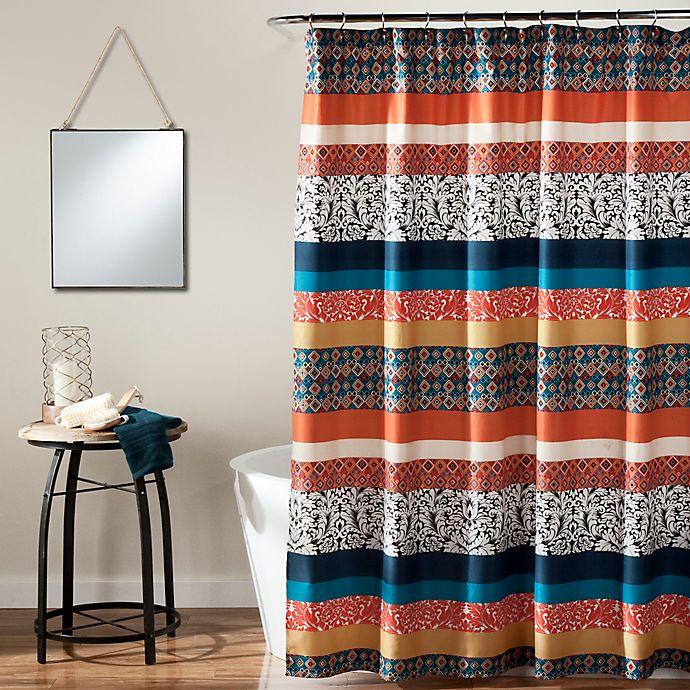 Alternate image 1 for Boho Stripe Shower Curtain in Turquoise/Orange