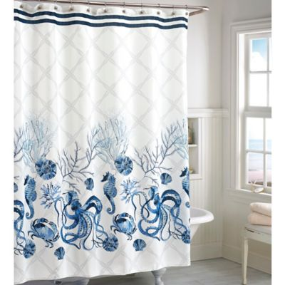 Blue Bathroom Shower Curtains.Octavia Shower Curtain In Blue Bed Bath Beyond