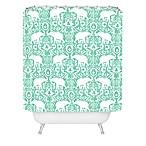 Deny Designs Jacqueline Madonado Elephant Damask Shower Curtain in Green