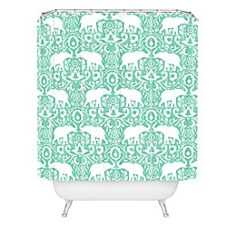 Deny Designs Jacqueline Madonado Elephant Damask Shower Curtain in Green