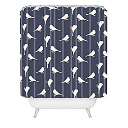 Deny Designs Allyson Johnson Little Birdies Shower Curtain in Blue