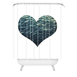 Deny Designs Chelsea Victoria Ocean Heart Shower Curtain in Blue