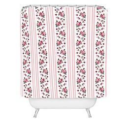Deny Designs Lisa Argyropoulos Vintage Floral Stripe Shower Curtain in Pink