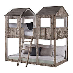 Tower Twin Over Twin Bunk Bed in Rustic Dirty White
