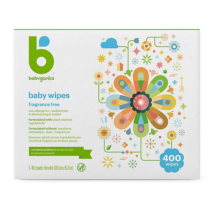 Alternate image 1 for Babyganics® Fragrance-Free 400-Count Baby Wipes