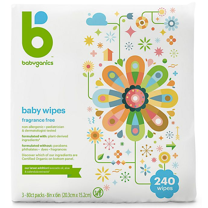 Alternate image 1 for Babyganics® 240-Count Fragrance-Free Face, Hand and Baby Wipes