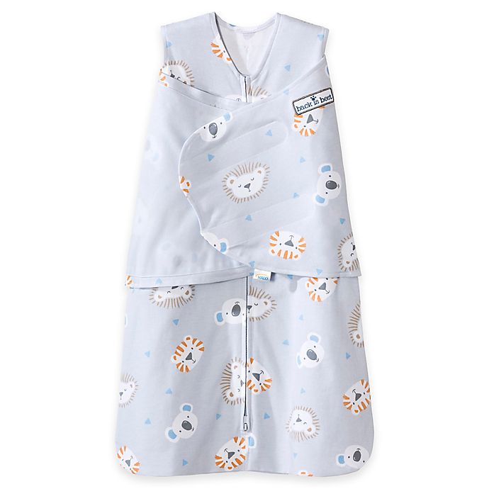 Alternate image 1 for HALO® SleepSack® Size Small Lions, Tigers, Bears Multi-Way Adjustable Swaddle in Grey