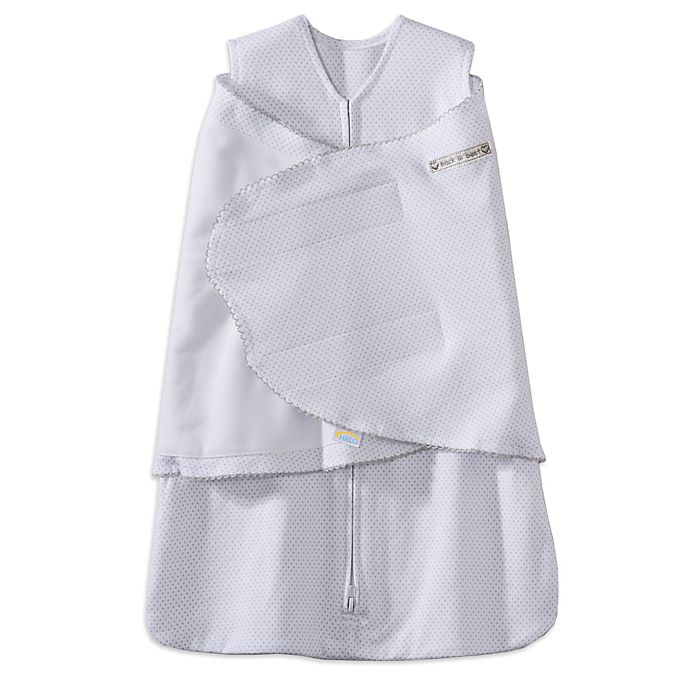 Alternate image 1 for HALO® SleepSack® Newborn Multi-Way Cotton Swaddle in Grey Dot