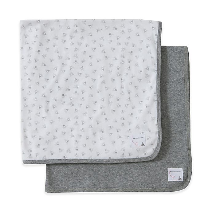 Alternate image 1 for Burt's Bees Baby® 2-Pack Organic Cotton Blankets in Heather Grey