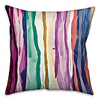 Rainbow Watercolor Dripped Lines 16-Inch Square Throw Pillow