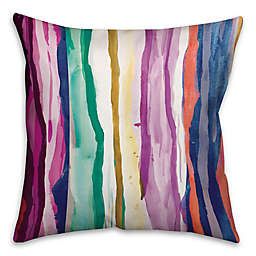 Rainbow Watercolor Dripped Lines Throw Pillow