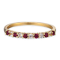 10K Yellow Gold Created-Ruby and White Sapphire Ladies' Stackable Band