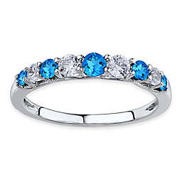 Sterling Silver Lab-Created White and Blue Sapphire Ladies' Stackable Ring