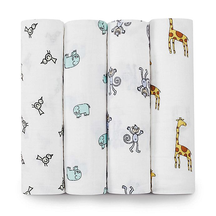 Alternate image 1 for aden + anais® Classic 4-Pack Muslin Swaddles in Jungle Jam
