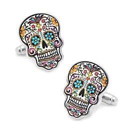 Silver-Plated Colorful Day of the Dead Cufflinks
