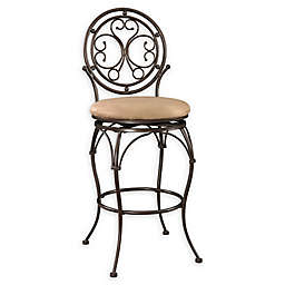 Powell Big and Tall Scroll Circle Back Stool in Bronze