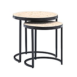 Powell Furniture Feya Iron Nesting Console Tables in Black (Set of 2)