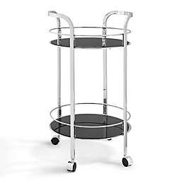 Powell Quinn Chrome and Glass Round Bar Cart