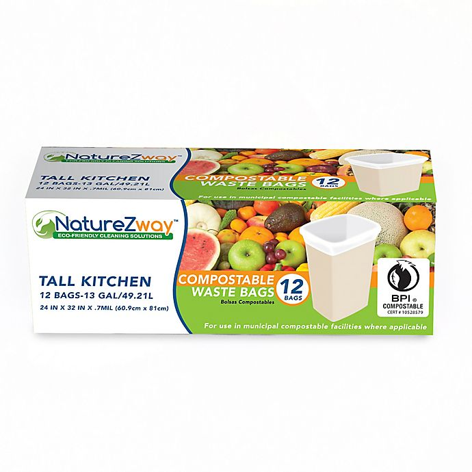 Alternate image 1 for NatureZway™ 12-Pack 13-Gallon Tall Kitchen Compostable Waste Bags in White