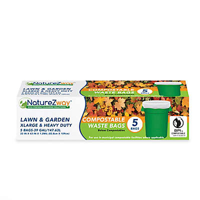 NatureZway™ 5-Pack 39-Gallon Lawn and Garden Compostable Waste Bags in White