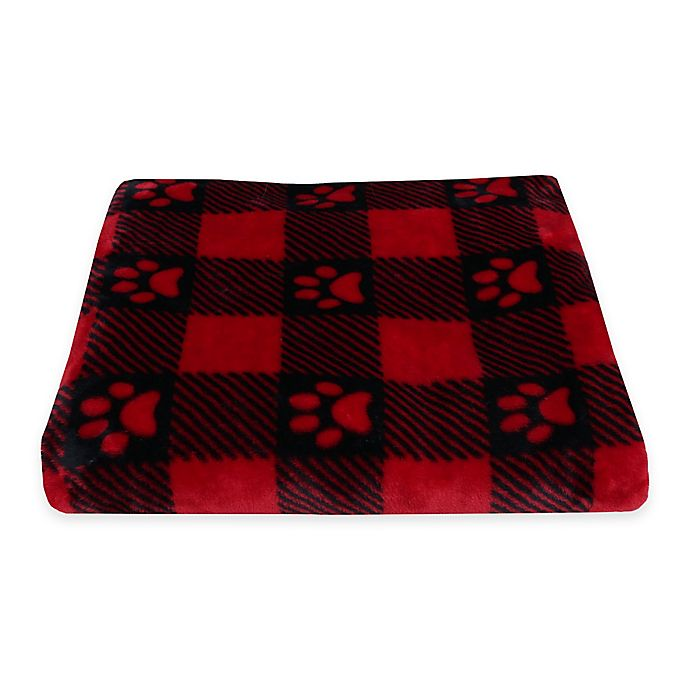 53a46cab Buffalo Check Paw Prints Fleece Pet Throw in Red | Bed Bath & Beyond