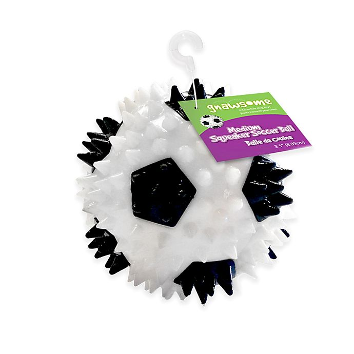 Alternate image 1 for Gnawsome™ Soccer Ball Squeaker Dog Toy in White/Black