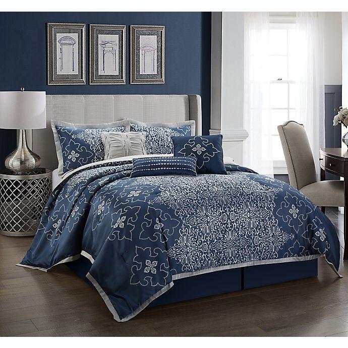 Alternate image 1 for Nanshing Korva 7-Piece Queen Comforter Set in Navy