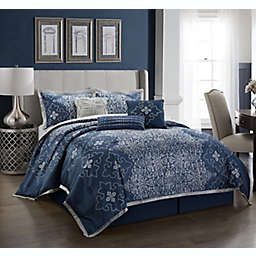 Nanshing Korva 7-Piece Queen Comforter Set in Navy