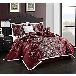 Nanshing Korva 7-Piece Queen Comforter Set in Burgundy