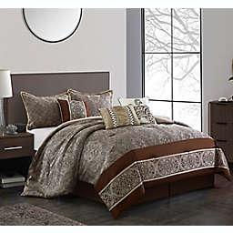 Nanshing Libson 7-Piece Queen Comforter Set in Brown