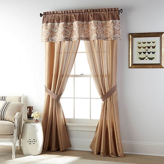 Alternate image 1 for Nanshing® Annabeth 4-Pack Rod Pocket Window Curtain Panels and Valance in Gold
