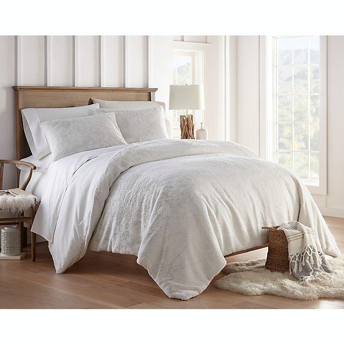 Alternate image 1 for Nanshing Abbey Faux Fur 3-Piece Reversible King Comforter Set in White