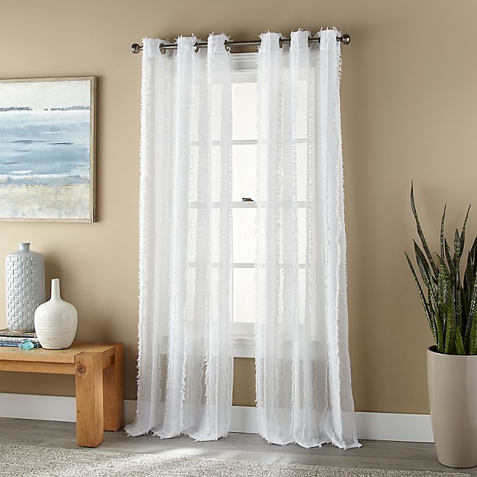 Alternate image 1 for Nanshing Robbie Grommet 2-Pack 84-Inch Window Curtain Panels in White