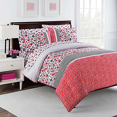 Nantucket Rose 7-Piece Reversible Comforter Set by Robin Zingone in Pink/Black