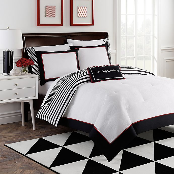 Alternate image 1 for Dahlia 8-Piece Reversible Comforter Set by Robin Zingone in Black/White/Red